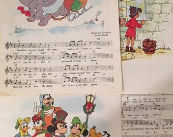 Disney Christmas Ephemera, Childrens' Christmas Carols, 18 Pages Lot Loose Ephemera