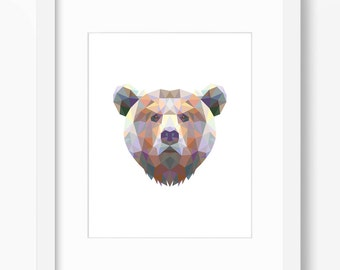 Bear Print, Bear Art, Bear Wall Art, Geometric Bear Print, Wall Print, Origami Bear Print, Bear Face, Geometric Bear Art, Triangle Bear Art