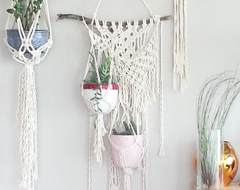 Macrame Hanging Planter- Wall Accent- Bohemian Decor- Dorm Decor~ Planter~ Modern Macrame- White Wall Accent- Boho Home Decor-  BohoChic