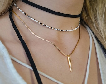 Layered suede choker long cords