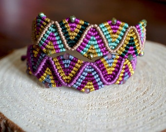 Boho Bracelet - Macrame bracelet - Crystal bracelet - Micro macrame adjustable bracelet - Colorful bracelet - Hippie bracelet - gift for her