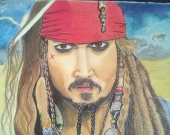 Jack sparrow drawing colored pencils, format A3