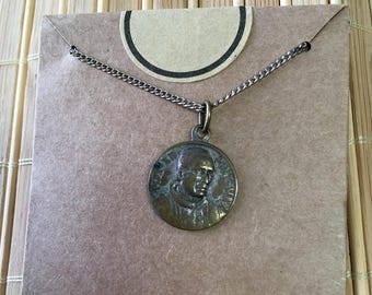 "Vintage  50's ""FRENCH COIN PENDANT"" with Open Link Silver Chain"