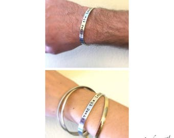 """Beyond The Label, Lower case letters, Hand Stamped 1/4"""" Cuff Bracelet, Autism jewelry, Holiday gift, Autism Awareness bracelet, unisex"""