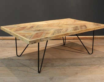 Coffee Table, Parquet Coffee / Reception Table with Steel Hairpin Legs. Made from reclaimed timber (The Amberstone)