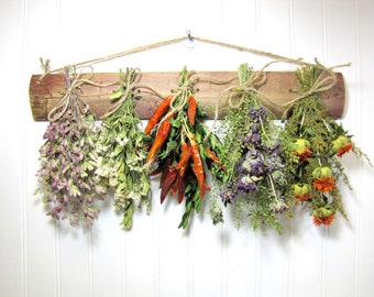 Fragrant Dried Herb Rack, Dried Floral Arrangement, Kitchen Decor, Herbs