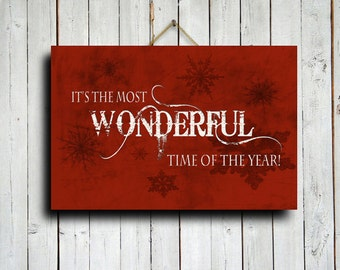 Its the most wonderful time of the year - Christmas decor - Christmas canvas - Christmas art - Red Christmas art - Red Christmas decor
