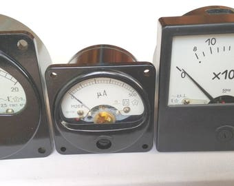 Retro Voltmeter Ammeter Microammeter | Electrical Measuring Instrument | Industrial Devices & Parts | Steampunk Accessory, Cyberpunk Decor