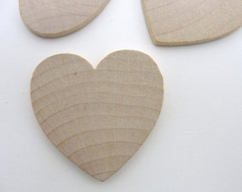 "50 Wooden hearts 1 1/2 inch (1.5"") wide 1/8 inch thick unfinished wood hearts diy"