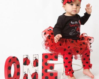 Ladybug freestanding ONE Photo Prop - Hand Painted - First Birthday - 1st Birthday - lady bug