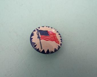 Vintage American Flag Patriotic Pinback Button Free Shipping