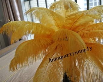 100 pcs Gold 12-14inch ostrich feather plume for wedding party supply decor wedding centerpiece
