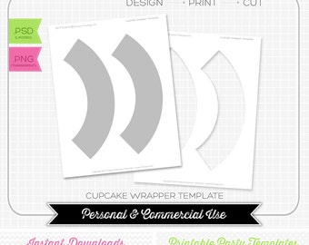 Cupcake Wrapper Template - INSTANT DOWNLOAD - PRINTABLE - Make your own party printables