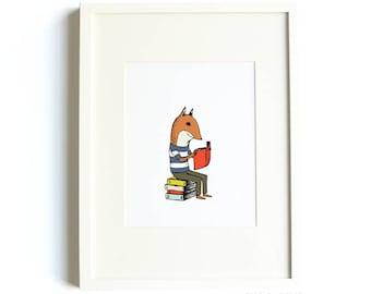Reading Fox Print - 8x10 Jaunty Animals Print by Hello Small World, Reading Print, Book Print, Book Nook Art, Library Art, Fox Print, Kids