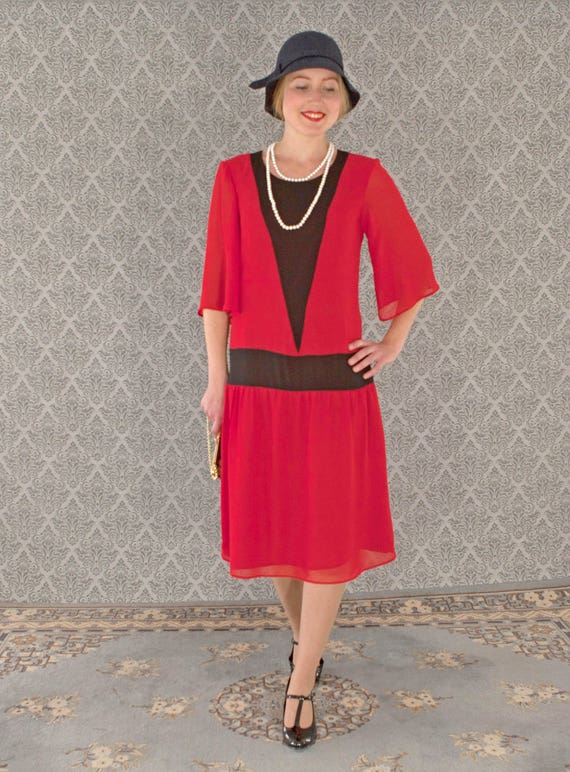 1920s Style Dresses, Flapper Dresses Red flapper dress with elbow length sleeves $130.00 AT vintagedancer.com