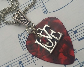Guitar Pick Necklace - Love - Red Swarovski - Guitar Pick Jewelry  -  24 inch - Ball Chain - Christian Necklace - Christian Jewelry