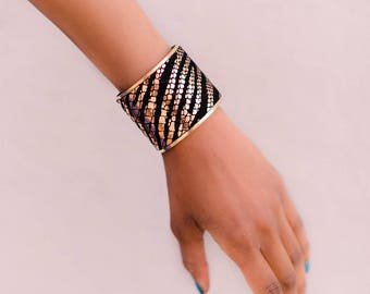 Rose gold and black zebra print leather and brass cuff bracelet wide leather cuff leather bracelet leather bracelet adjustable cuff