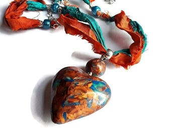 Rustic Boho Necklace, Hollow Heart Long Necklace, Polymer clay Jewelry, Orange and Turquoise Necklace, Heart Pendant, Sari Silk, Necklace