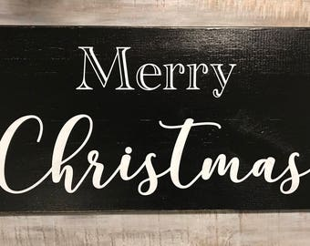 Black and white Merry Christmas wood sign