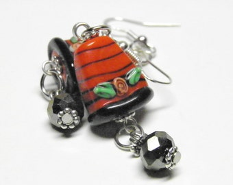 Halloween Earrings, Sterling Silver Candy Corn Autumn Jewelry, Thanksgiving Earrings, Lampwork Glass Fall Earrings, Thanksgiving Jewelry SRA