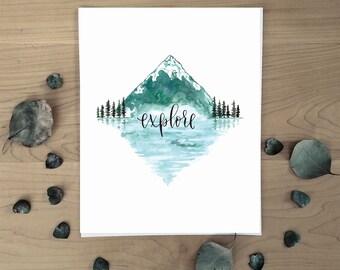 Explore Watercolor Art Print // Adventure Print 8x10