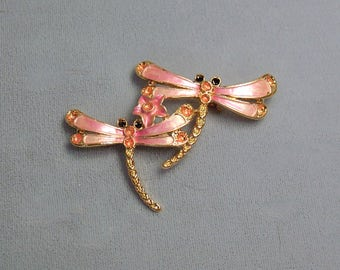 Pink Dragonfly Duo Vintage Brooch ~ Mother's Day Pin ~ Mother and Child Enamel Dragonfly Damselfly Pin from the 1980's