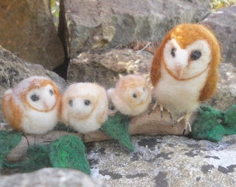 Felted barn owls, needle felted owls, owls on driftwood, barn owl sculpture, owls home decor, daddy and baby owls