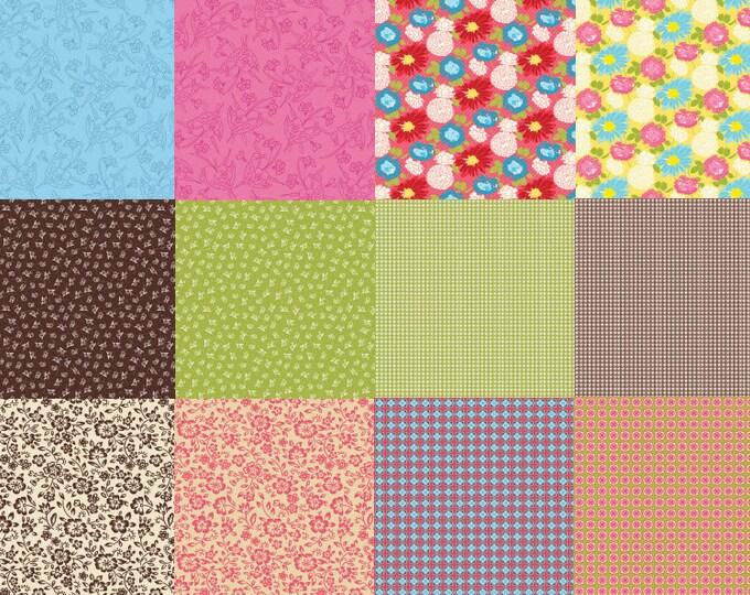SALE!! - Homespun Chic Fat Quarter Bundle - 12 pieces - Floral Cotton Quilt Fabric - by Melody Ross for Blend Fabrics (W636)