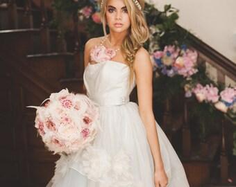Custom Rose Gold Brooch Bouquet, Blush Fabric Bouquet, Fabric Flower Bouquet, Bridal Bouquet, Wedding Bouquet - 12 inch Bouquet
