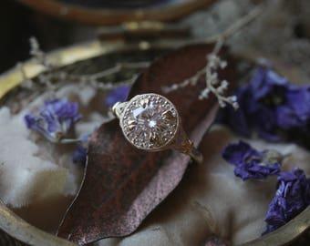 Antique Moissanite Engagement Ring, Round Moissanite Engagement Ring, Diamond Alternative Engagement Ring, Diamond Halo Ring, Edwardian Ring