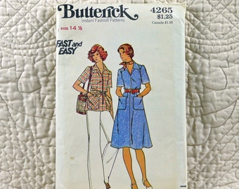 Dress Top Pants, M, Butterick 4265 Pattern, Flared, Pointed Collar, Front Zipper, Straight Legs, 1970s Uncut, Size 14