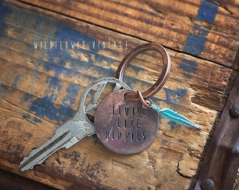 Volkswagen Vintage Key Chain | Livin' Like Hippies Feather Hand Stamped Copper Repurposed Boho VW Gifts for her