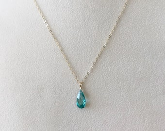 Emerald Pendant-Emerald Necklace-Emerald Teardrop Necklace-Emerald Teardrop Pendant-May Birthstone Pendant-Emerald Pendant Necklace