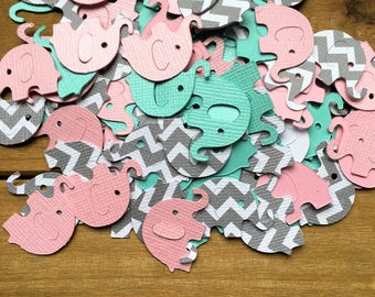 Pink and Teal Elephant Confetti, Elephant die cut, Baby Shower Confetti, It's a Girl, elephant decoration, elephant baby shower, chevron