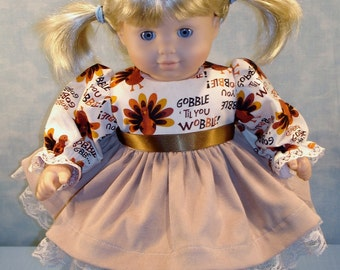 15 Inch Doll Clothes - Gobble Till You Wobble Thanksgiving Dress handmade by Jane Ellen for 15 inch baby dolls