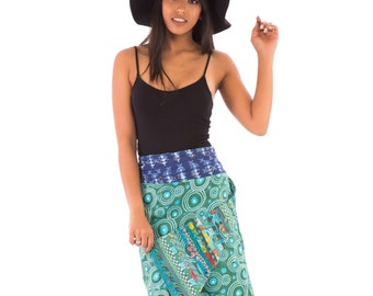 Reversible Cotton Skirt Blue Green Patch Print Long Length