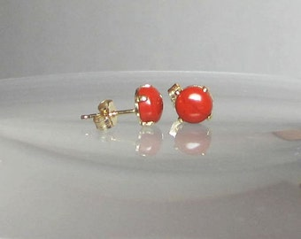 Brick Red Jasper Earring Studs 6mm or 4mm Sterling Silver or 14Kt Gold Filled