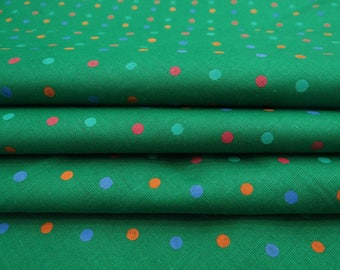 "Upholstery Fabric, Polka Dots, Green Fabric, Dress Fabric, Craft Supplies, 44"" Inch Cotton Fabric By The Yard ZBC9058D"