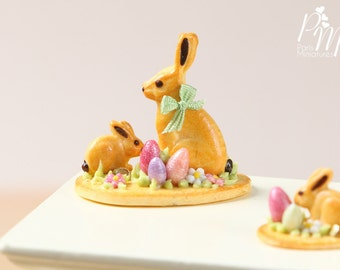 MTO-Easter Cookie Rabbit Family Display (C) - Miniature Food in 12th Scale for Dollhouse