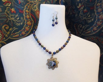 Iris Blue, Vintage Glass Button Necklace with Earrings