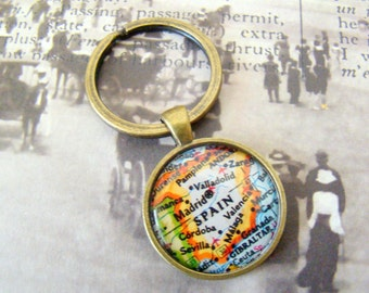Spain Keychain, Madrid, Valladolid, Malaga, Sevilla, 25mm Round Keyring, Antiqued Brass Key Chain, Made with Love, Comes in a Cool Gift Box