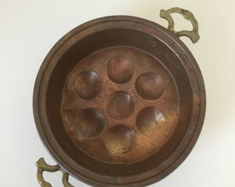 Vintage copper egg poacher, copper pan, kitchen decor, rustic decor, copper kitchen