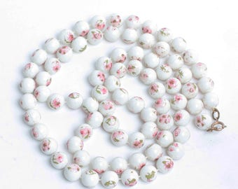 Pink Flowers White Beads Necklace Extra Long  42 Inches Flapper Length Vintage