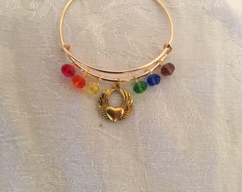 Rainbow Bridge Golden Winged Heart Crystal Adjustable Wire Bangle Bracelet