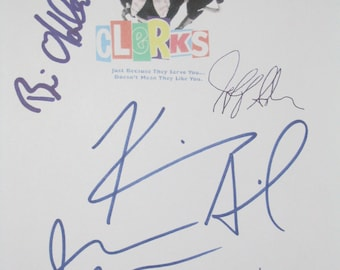 Clerks Signed Film Movie Screenplay Script X5 Autographs Jason Mewes Kevin Smith Brian O'Halloran Jeff Anderson Marilyn Ghigliotti signature