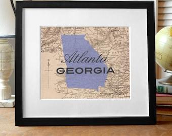 Atlanta Georgia Art Print, Atlanta Print, Georgia Print, Georgia State Print, Georgia Art, Atlanta Map Print