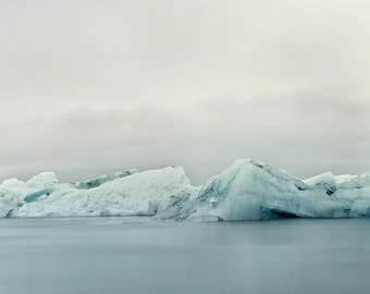 """Nature Photography, Arctic Winter Print, Iceberg, Landscape Photography, Iceland, Blue Grey Ice, Water, Nature """"The Frozen Lake"""""""