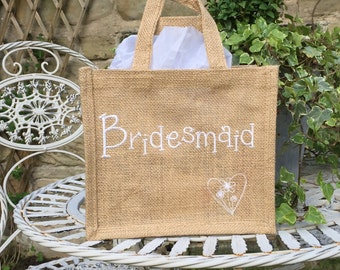 Bridesmaid Gift Bag - Jute \ Hessian
