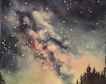 Night Sky Forest Original Watercolor