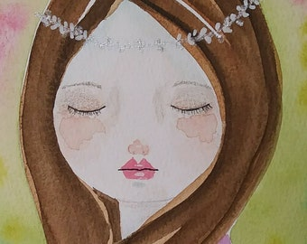 Whimsical painting, whimsical girl, original art, watercolor painting, one of a kind